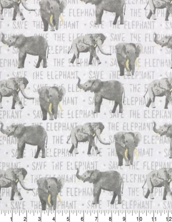 Elephant Super Snuggle Flannel - Grey Flannel Fabric