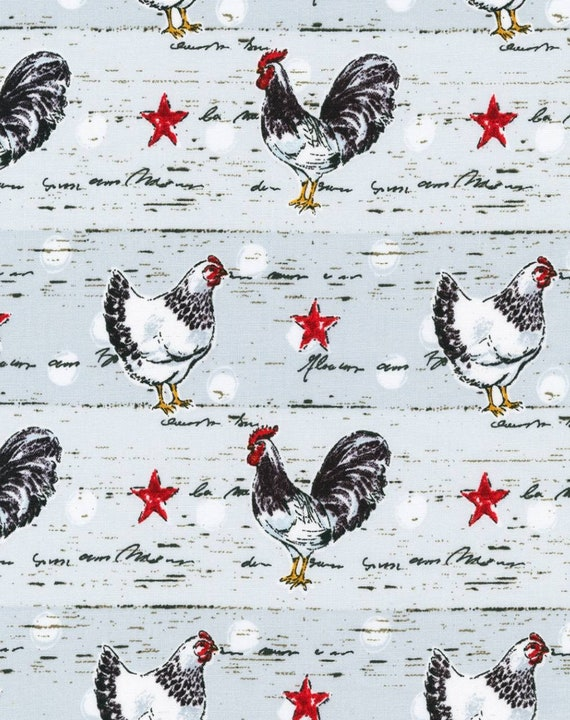 Rustic Chickens on Gray Wood - Barnwood Chicken Fabric - Lone Star - Country Chicken Fabric - Rooster Fabric