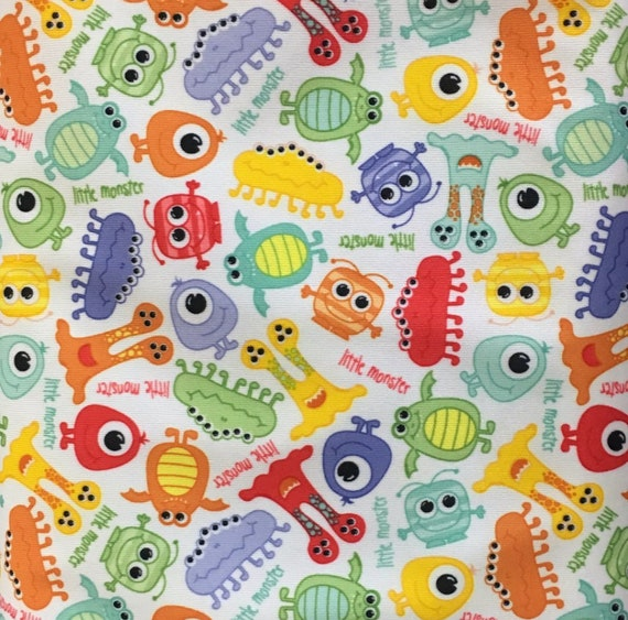 Monsters PUL Fabric - Babyville Fabric - Waterproof Fabric - Cloth Diaper Fabric - Bird PUL Fabric - Wet Bag Fabric