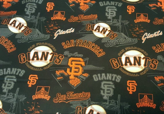 San Francisco Giants Cotton Fabric - Giants MLB - Orange and Black Giants Fabric