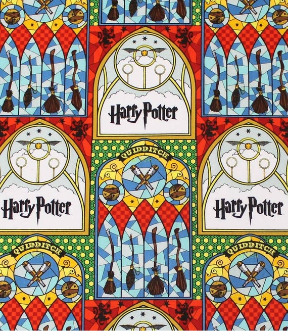 Stained Glass Quiddich Fabric - Gryffindor Fabric - Hufflepuff Fabric - Harry Potter Gryffindor Fabric - Quilting Cotton Harry Potter Fabric