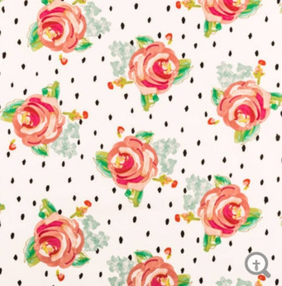 Water Flowers and Spots Fabric - Floral Fabric - Apparel Fabric