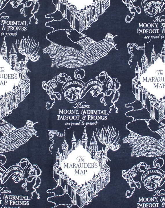 Navy Marauder's Map Harry Potter - Harry Potter Gryffindor Fabric - Flannel Harry Potter Fabric