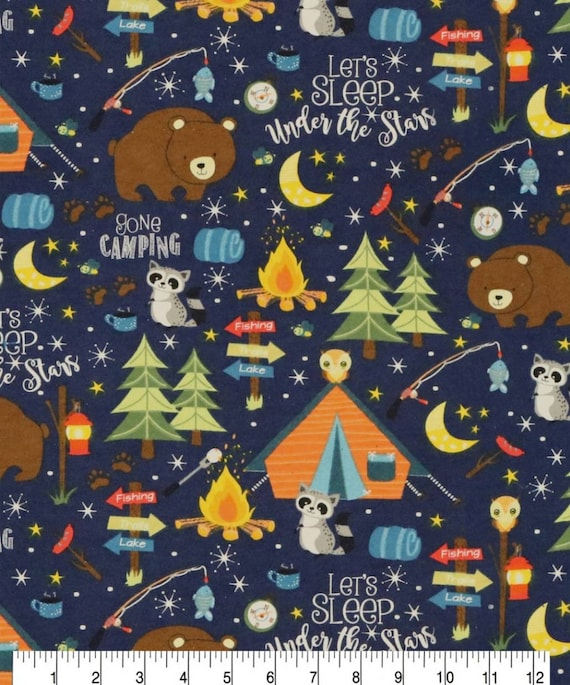 Wilderness Bear Snuggle Flannel - Camping Snuggle Flannel - Adventure Awaits Flannel Fabric by the Yard