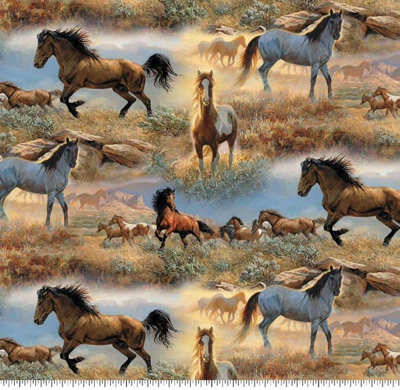 Horse Fabric - Wild Horses - Wilderness Fabric - Western Fabric - Quilting Cotton