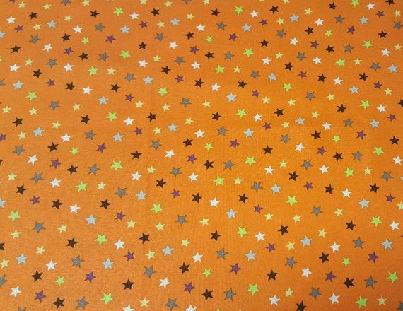 Orange Halloween Fabric - Star Fabric - Orange Stars Fabric - Purple- Green - Blue - White