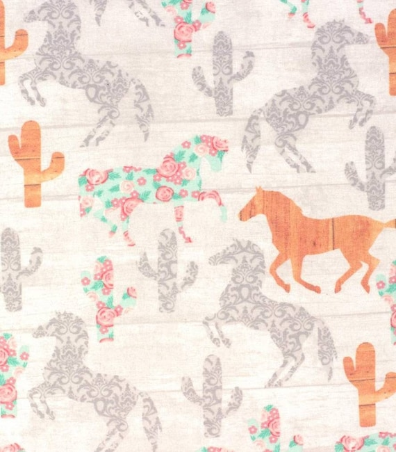 Horses and Cactus Flannel Cotton Fabric - Cowgirl Fabric - Rustic Girl Fabric - Heartland Fabric