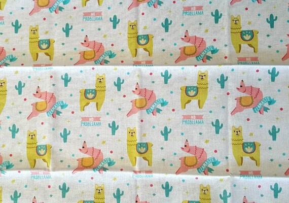 Llama Yoga Fabric - White Llama Fabric - Cactus - Flowers - Llama