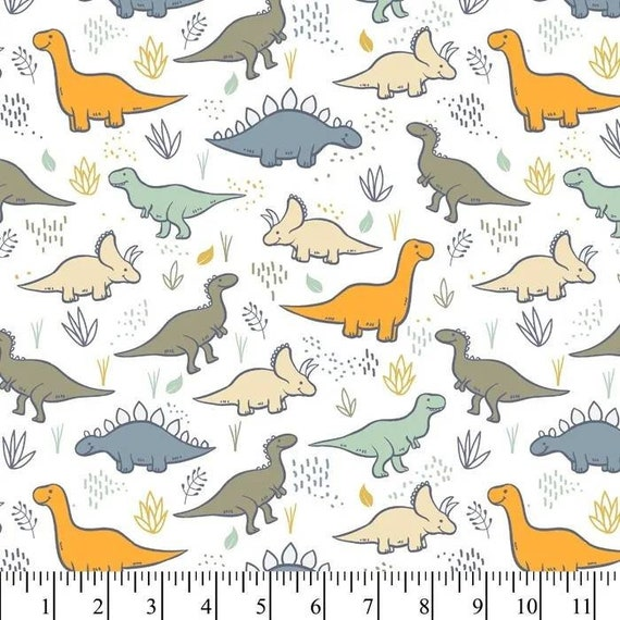 Dinosaur Flannel Fabric - Dinosaur Fabric - Flannel Dinosaur Fabric