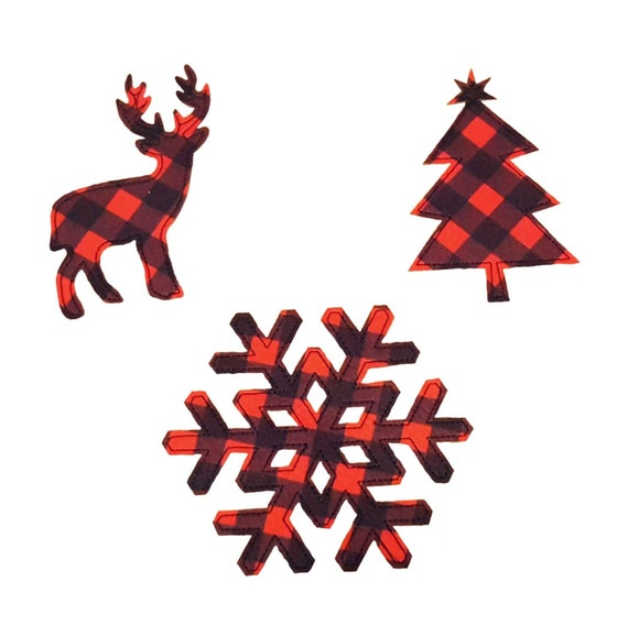 Christmas Applique - Reindeer - Buffalo Plaid - Snowflake - Christmas Tree - Pillow Applique - Iron On