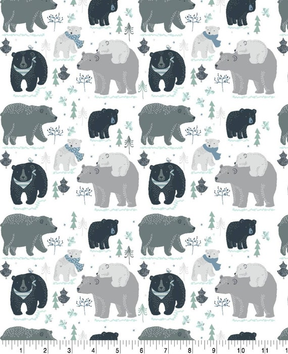 Adventure Awaits Snuggle Flannel - Bear Snuggle Flannel - Forrest Flannel Fabric by the Yard - Mama Bear