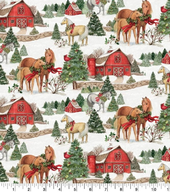 Christmas Horse Fabric - Farm Christmas Fabric - Rustic Christmas Fabric - Country Christmas Fabric - Heartland Christmas Fabric