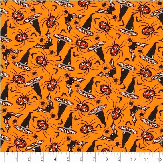 Orange Spider Fabric - Halloween Fabric - Witch Fabric - Halloween Witch Fabric - Halloween Floral Fabric