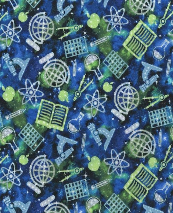 Blue Science Fabric - Sparkles - Green and Blue Science Fabric - Chemistry - Math - Teaching