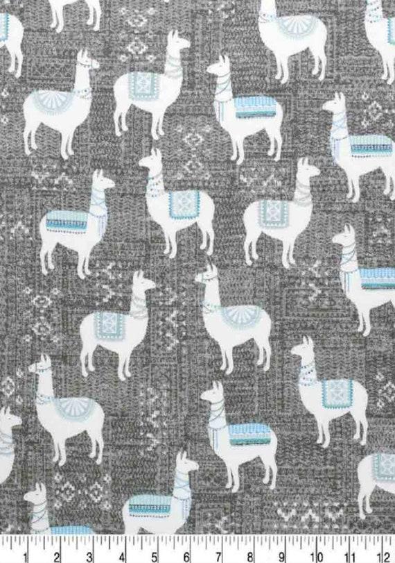 Llama Super Snuggle Flannel - Grey Llama Fabric - Baby Blanket Fabric - Blue Llama Flannel Fabric