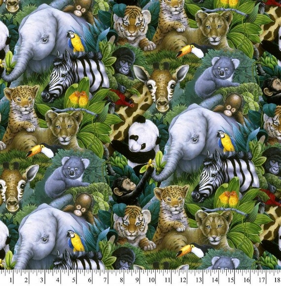 Zoo Fabric - Jungle Fabric - Elephant Fabric - Panda Bear Fabric - Quilting Cotton - Koala - Giraffe Fabric