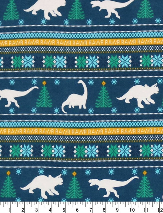 Dinosaur Christmas Flannel Fabric - Dinosaur Sweater Fabric - Flannel Dinosaur Fabric - Jurassic Flannel