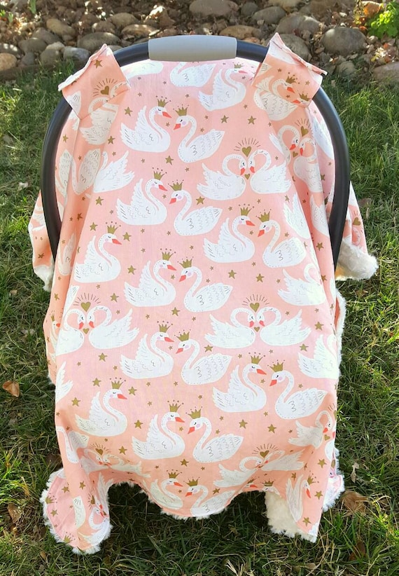 Swan Car Seat Canopy - Car Seat Cover - Breastfeeding Cover - Baby Shower Gift Idea - New Mom Gift - Princess Baby