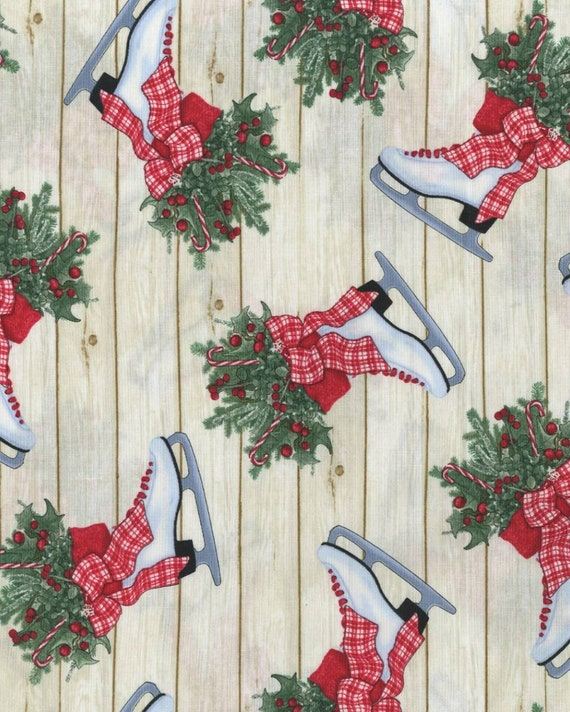 Ice Skates Christmas Fabric - Country Christmas Fabric - Rustic Christmas Fabric - Christmas Wood Fabric - Christmas Tree Fabric - USA