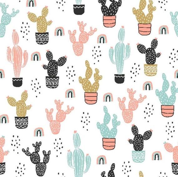 Rainbow Cactus Fabric - CactusCotton Fabric - Cactus - Flowers - Rainbow