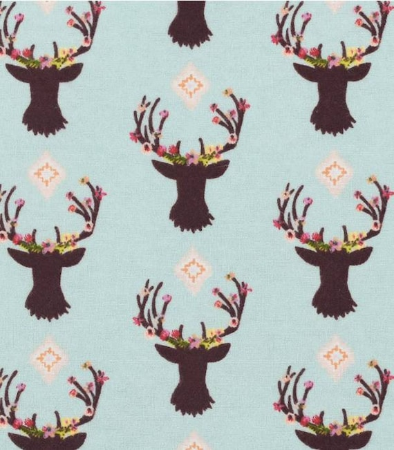 Deer Snuggle Flannel - Floral Deer Snuggle Flannel - Flannel Fabric by the Yard