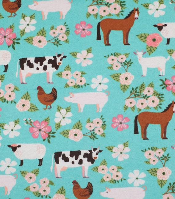 Farm Flannel Fabric - Cow Fabric - Horse Fabric - Pig Fabric - Goat Fabric - Rustic Floral Farm Fabric
