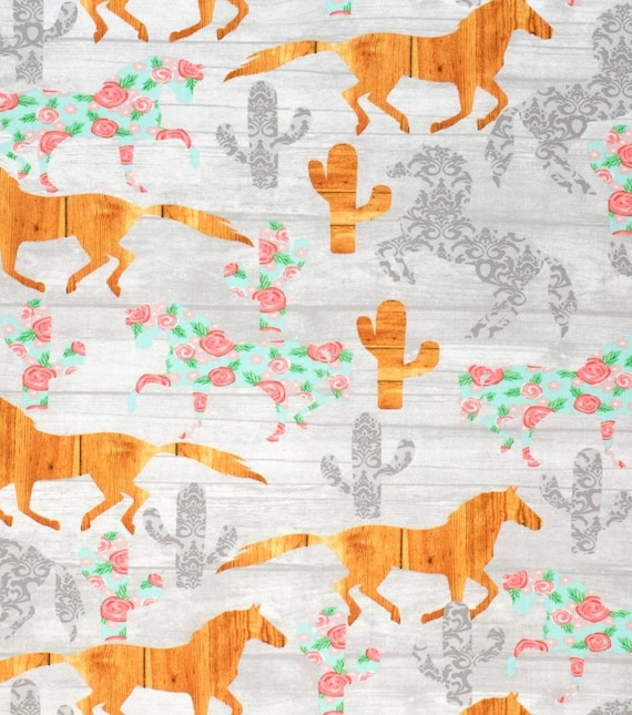 Horses and Cactus Cotton Fabric - Cowgirl Fabric - Rustic Girl Fabric - Heartland Fabric - Quilting Cotton