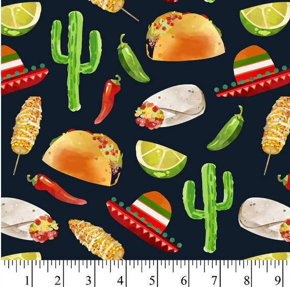 Sombrero Fabric - Mexican Corn on Stick Fabric - Burritos Fabric - Taco Fabric - I Love Tacos