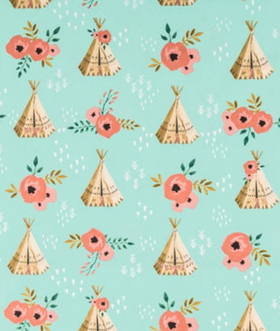 Mint Teepee and Roses Fabric - Teepee Fabric - Rustic Chic Fabric - Nursery Fabric - Adventure Wilderness Fabric
