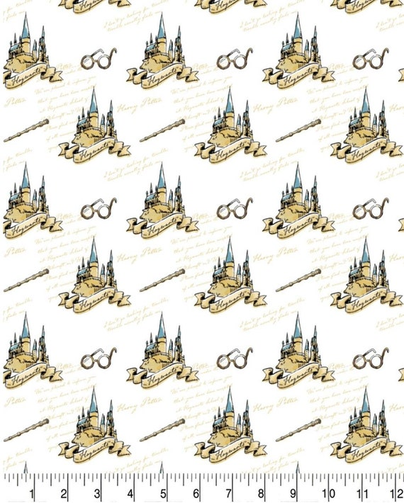 Harry Potter Glasses Fabric - Harry Potter Gryffindor Fabric - Quidditch Fabric - Quilting Cotton Harry Potter Fabric