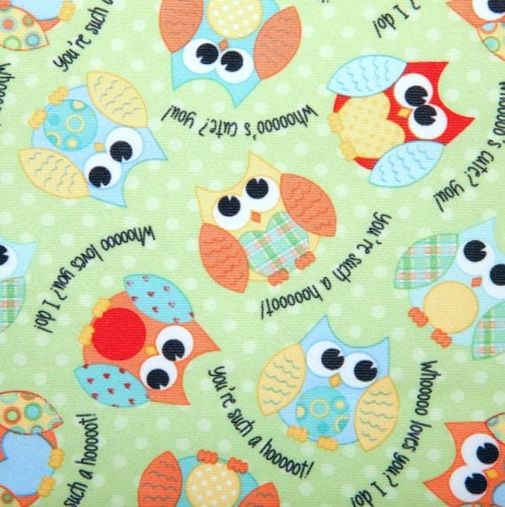 Owl PUL Fabric - Babyville Fabric - Waterproof Fabric - Cloth Diaper Fabric - Bird PUL Fabric - Wet Bag Fabric