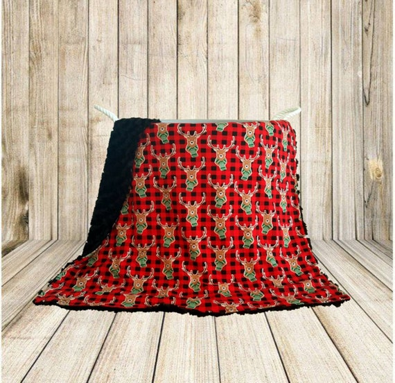 Christmas Reindeer Baby Blanket - Baby Shower Gift Idea - Jersey Knit and Minky Blanket - Nursery Accessories -