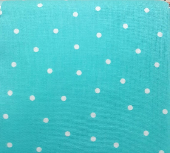 Teal Polka Dot Cotton Fabric - Cotton Material by the Yard - 100% Cotton