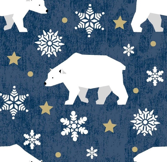 Polar Bear Christmas Fabric - Blue Polar Bear Fabric - Christmas Fabric - Gold Stars and Polar Bears