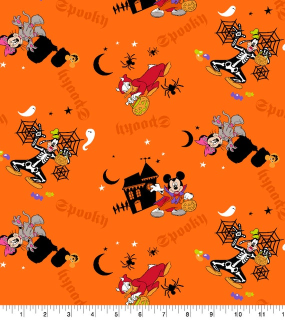 Mickey Mouse Holloween Fabric - Orange Mickey Fabric - Disney Classic Fabric - Mickey and Minnie Mouse - Goofie - Donald Duck