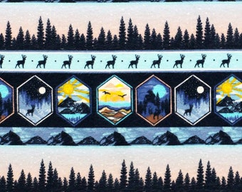 Mountain Flannel Fabric - Camping Snuggle Flannel - Elk Snuggle Flannel - Seek Adventure Flannel Fabric by the Yard