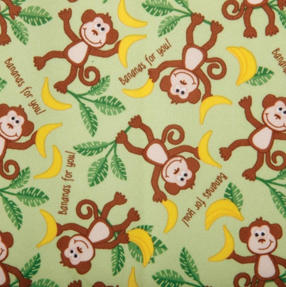 Monkey PUL Fabric - Babyville Fabric - Waterproof Fabric - Cloth Diaper Fabric - Bird PUL Fabric - Wet Bag Fabric