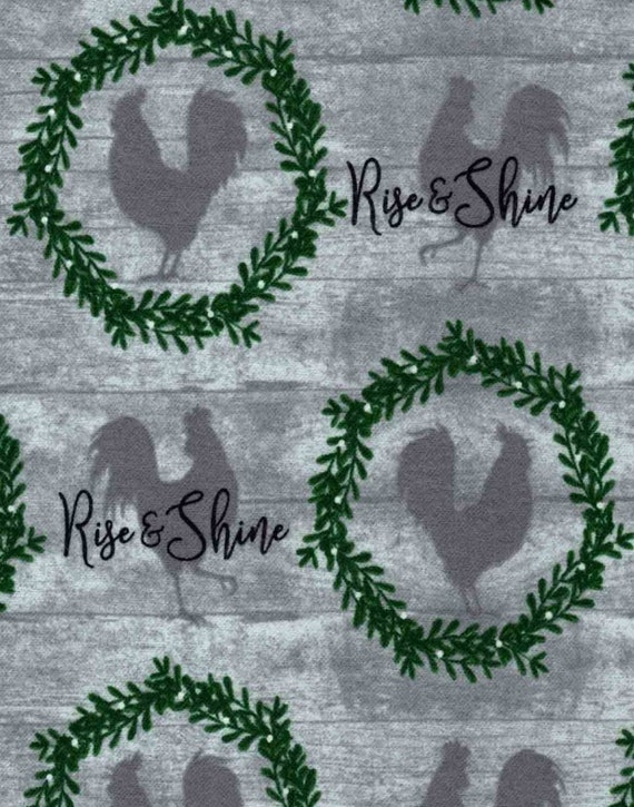 Rise and Shine Fabric - Christmas Wreath Fabric - Rustic Christmas Fabric - Country Christmas Fabric - Rooster Christmas Fabric