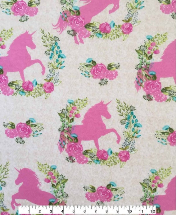 Unicorn Jersey Knit Fabric - Horse Fabric - Pink and Cream Fabric