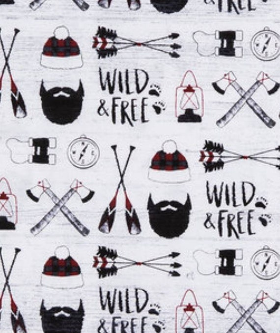 Lumber Jack Fabric - Mountain Man Fabric - Wild & Free Fabric - Quilting Cotton by the Yard - Adventure Fabric - Baby Blanket - Christmas