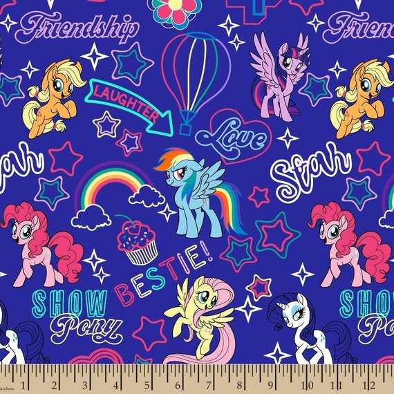 Unicorn Cotton Fabric by the Yard - Cute Little Unicorns - Be Yourself or Be A Unicorn - Sparkle Like A Unicorn - My Little Ponys