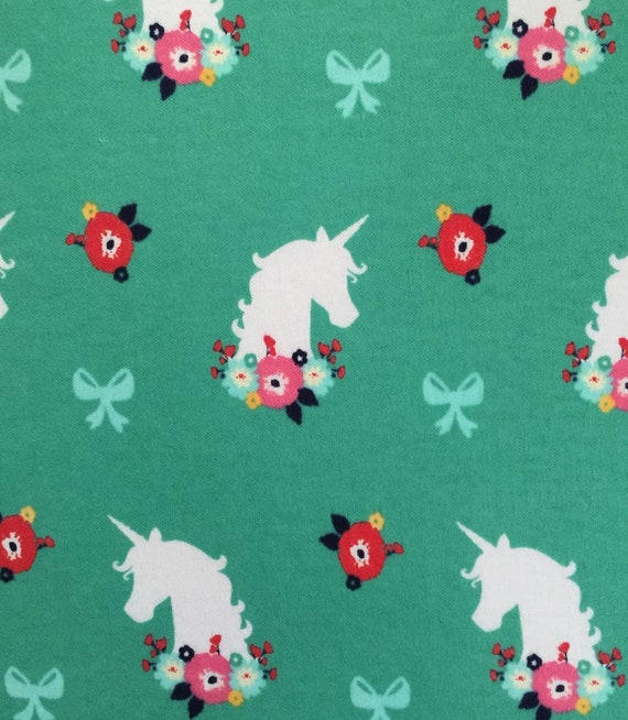 Unicorn Knit Fabric - Turquoise Unicon Fabric -  Unicorn and Flower Knit Fabric