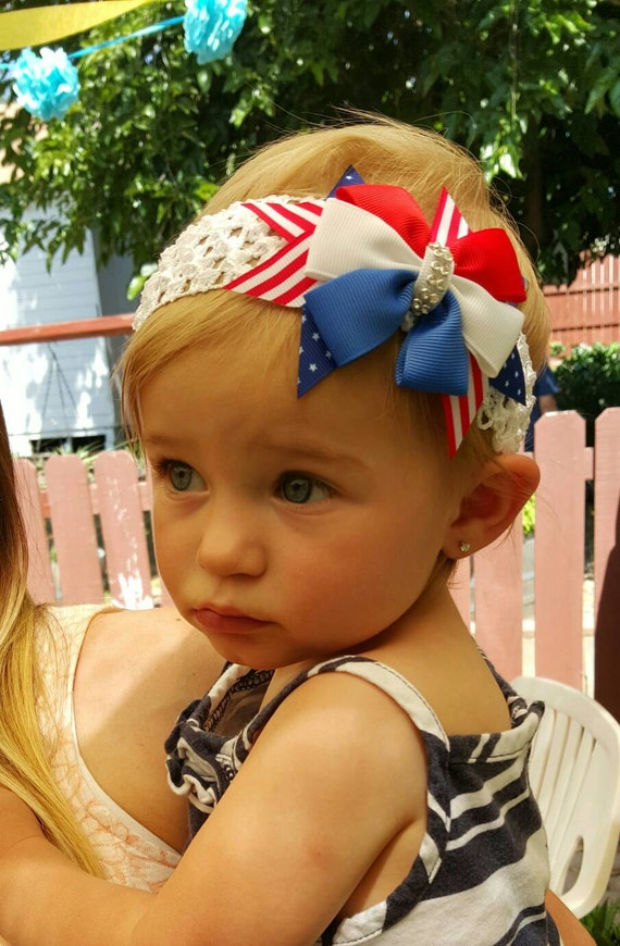 4th of July Baby Headbands - Photo Props - Flower Headbands - Fancy Headbands - Newborn Headbands - Baby Shower Gift Idea