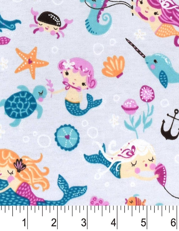 Mermaid Snuggle Flannel - Norwhal Snuggle Flannel - Flannel Fabric by the Yard