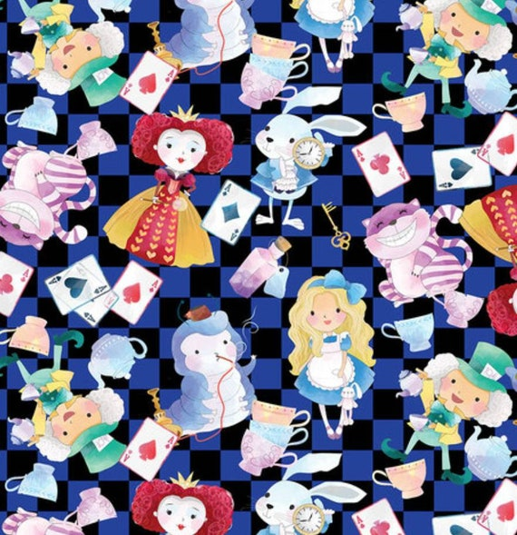 ECO-PUL Fabric by the Yard - Food Safe Fabric - Cloth Diaper Fabric - Solvent-free Laminate - Alice in Wonderland