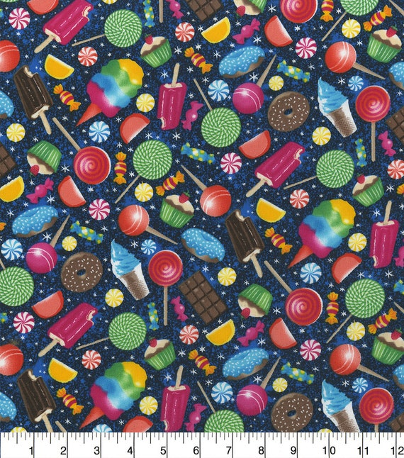 Candy Cotton Fabric - Ice Cream Fabric - Chocolate Fabric - Cupcakes - Frosty - Lollipops