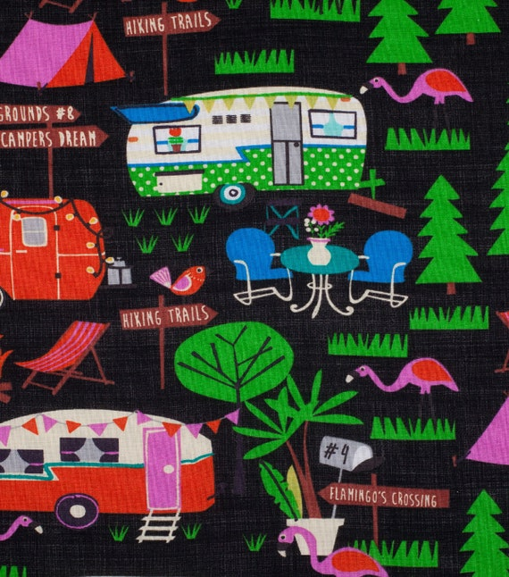 Camper Fabric - RV Camper Flamingo Fabric - Summer Camping - Glamping Fabric - Tropical Vayca