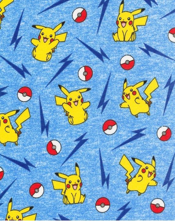 Pokemon Jersey Knit Fabric by the Yard - Pekachu