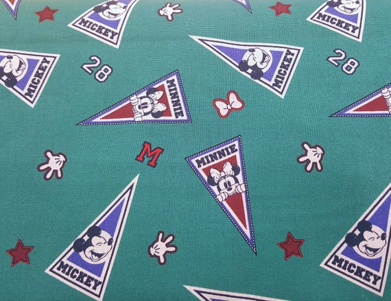 Mickey Mouse Fabric - Green Mickey Fabric - Disney Classic Fabric - Mickey Mouse Summer - Minnie Mouse Summer - Mickey Football Fabric