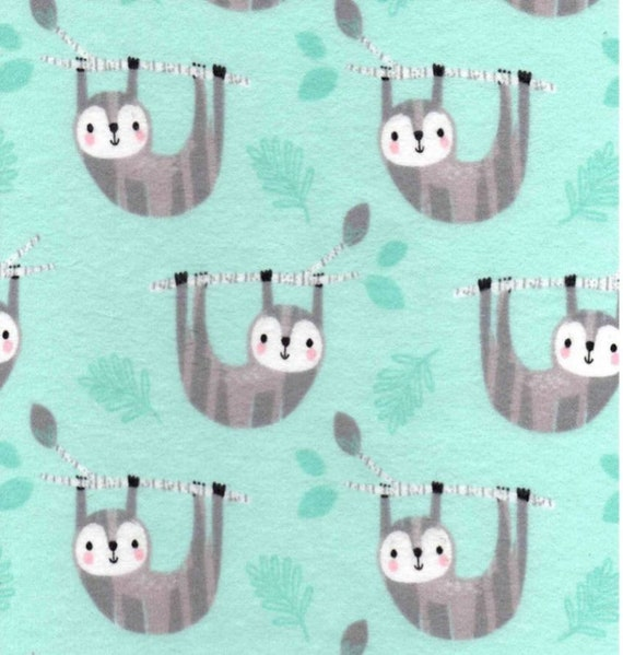 Sloth Snuggle Flannel - Mint Snuggle Flannel - Forrest Flannel Fabric by the Yard